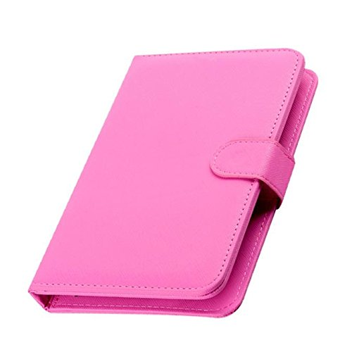 Tonsee General Wired Keyboard Flip Holster Case for Andriod Mobile Phone 4.2''-6.8'',Rosa