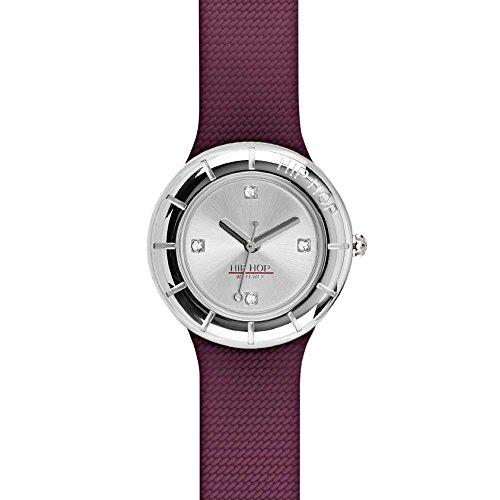 Orologio HIP HOP donna METAL quadrante argento e cinturino in silicone, metallo rosso, movimento SOLO TEMPO - 3H QUARZO