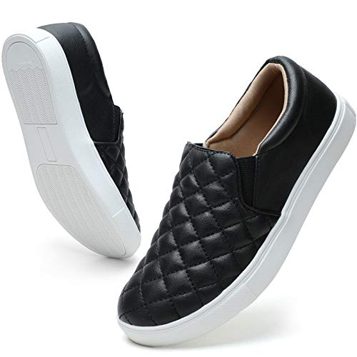 STQ Loafers for Women Quilted Slip On Sneakers Casual Comfort Memory Foam Fall Shoes Black 7.5