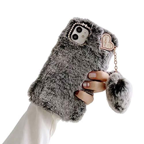 Shinyzone Kompatibel mit Samsung Galaxy A12 Hülle mit Plüsch Haarball,Pelzig Flauschige Faux Hasenhaar Fell Hülle mit Kristall Diamant Warme Kaninchen Pelz Weiche TPU Schutzhülle,Grau