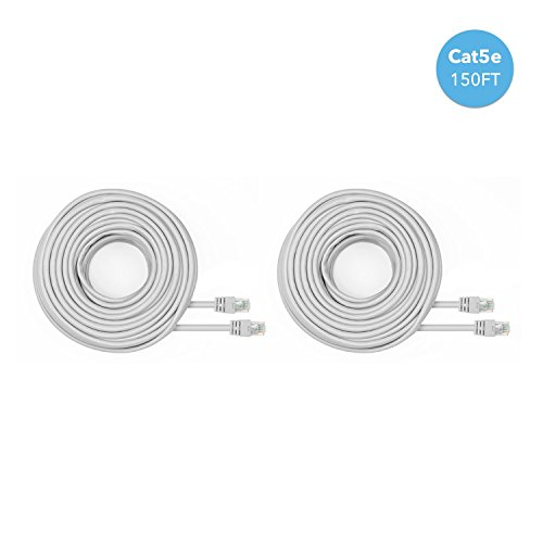 Amcrest Cat5e Cable 150ft Ethernet Cable Internet High Speed Network Cable for POE Security Cameras, Smart TV, PS4, Xbox One, Router, Laptop, Computer, Home, 2-Pack (2PACK-CAT5ECABLE150)