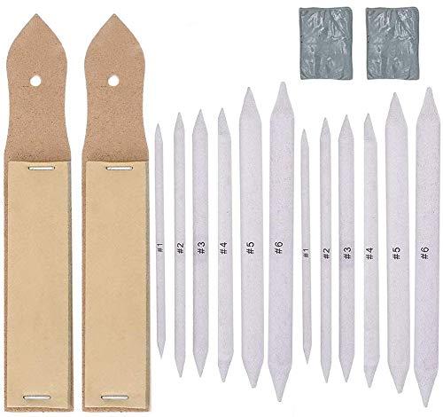 BESTZY 16 Stück Papierwischer Mischen Papierwischer Set, Blending Stumps Papierwischer Set mit 2 Stück Schleifpapier Bleistiftspitzer und Weißer Radiergummi für Student Skizze Zeichnen