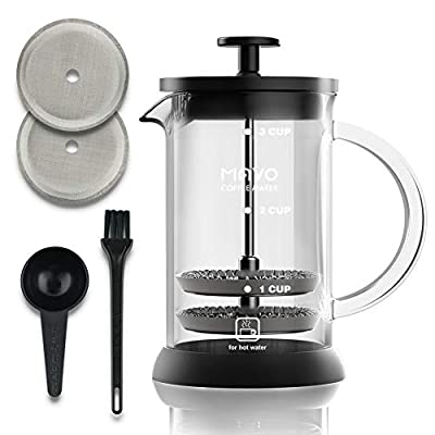 MAVO French Press Coffee Maker, Coffee Press 20oz(5 cup) - 6 Level Filtration System - Tea Maker, Milk Frother Maker, Cold Brew Coffee Maker - Bonus Spare Filters, Coffee Bean Spoon, Clean Brush - Thicken Heat Resistant Borosilicate Glass