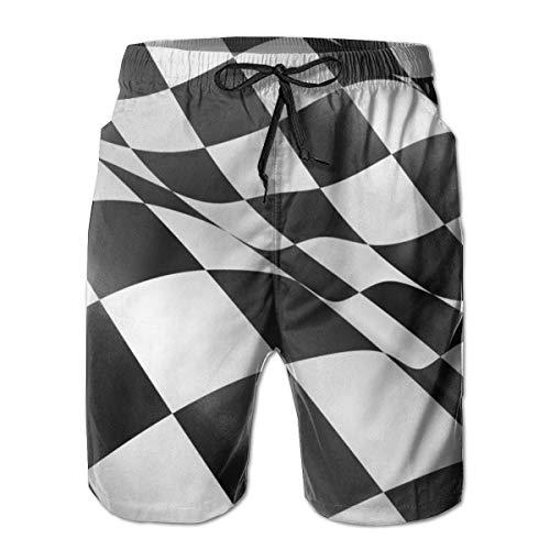 SHALLY Men's Beachwear Swimtrunks Black And White Check Racing Car Flag Athletic Beach with Pockets L