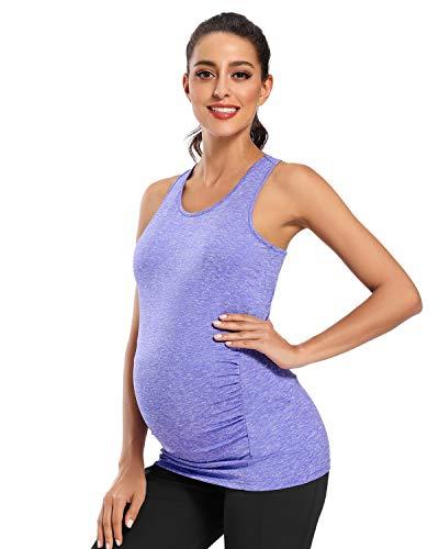 Love2Mi Camiseta de premamá para mujer, para embarazadas, deporte, yoga, etc. morado S