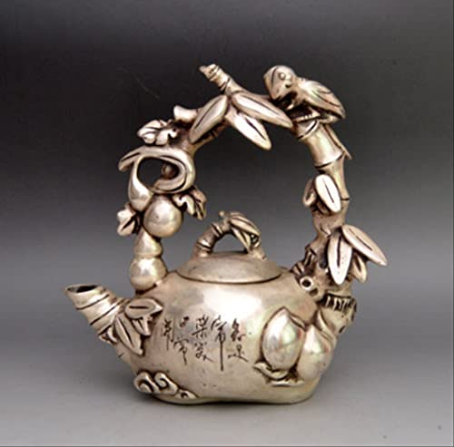 LISAQ Tibet Silver Carved Bird On Grape Tree Teapot Statues Home Decoration