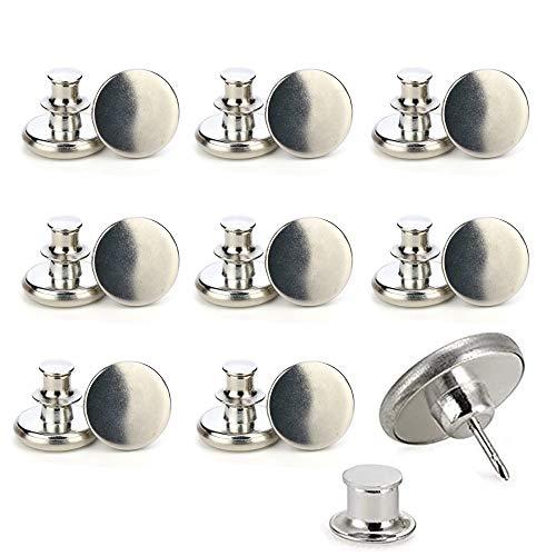 DHHSUK No Sew Instant Button, 17 mm Verstellbarer Jeansknopf, Ersatz Jean Metal Button Fügt jeder Hose in Sekunden einen Zoll hinzu oder reduziert sie (Silver,8 pcs)