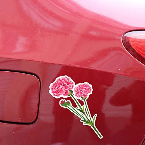 TJJL Car Stickers 11.2X13.3CM Beautiful Pink Carnation Flowers Car Stickers Accessories Decal