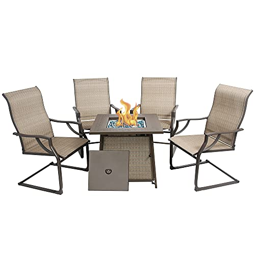 BALI OUTDOORS Propane Fire Pit Table Set, 28 inch 50,000 BTU Gas Fire Pit Table with 4 Textilene Spring Chairs, Patio Furniture Conversation Dining Set