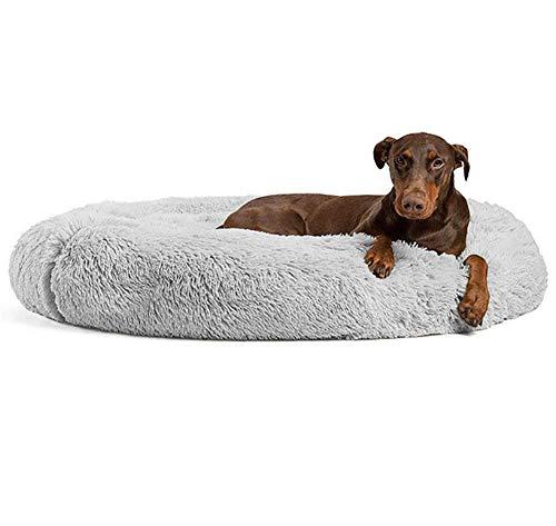 KongEU Extra großes Hundebett,waschbar,Rundes Hundekissen Komfortbett,Plüsch Hundesofa mit kuscheliger Liegefläche Hundekorb für Labrador,Golden Retriever,Husky Schäferhund-120cm-hellgrau
