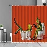XCBN Cortinas de Ducha de Rana de Dibujos Animados, Cortina de baño de Animales con Ranas Creativas, decoración de baño para habitación de niños, Pantalla Impermeable A14 150x180cm