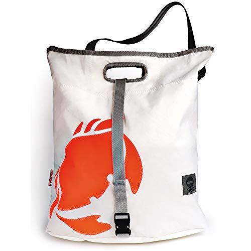 360° Grad Umhänge-Tasche Damen groß, Tender, Segeltuch-Tasche wasserdicht, Seesack weiß mit Krabbe neon Orange, maritim, wetterfest