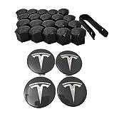 ZIYUMI Car Aero Wheel Trim Set Rim Set Includes 4 Hub Caps 20 Wheel Caps 1 Wheel Nut Cover Puller for Tesla Model 3 / Model S/Model X