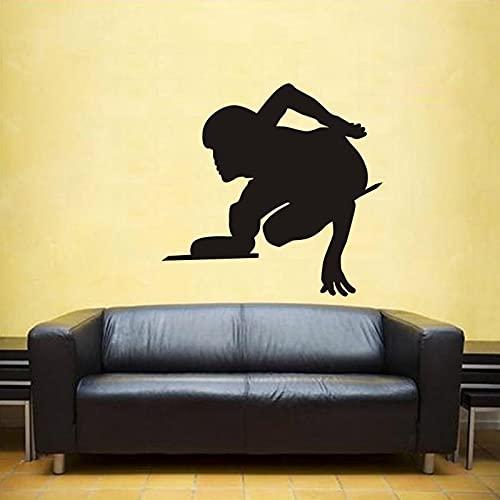 ZWWGZRSH Cartel de esquí Vinilo Pared decoración Mural Patinaje Coche Patinaje de Velocidad calcomanía Patinaje de Velocidad Pared calcomanía 58x61 cm