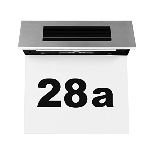 Sensor Hausnummernleuchte ABEDOE LED beleuchtete Hausnummern-Leuchte Solarleuchte aus Edelstahl -Transparent