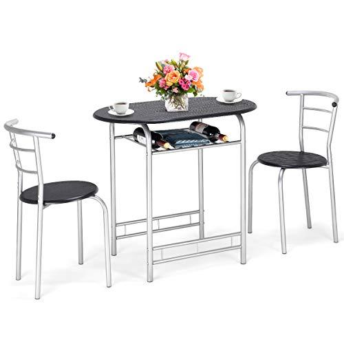 DREAMADE 3 TGL. Sitzgruppe, Küchenbar, Esstisch mit 2 Stühlen, Bistroset, Balkonset aus Holz und Stahl, Essgruppe (Schwarz)