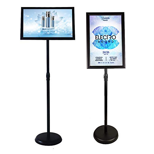 Poster Stand Holder Floor Sign Stands Advertising Display Stand-Oriented Signage Mall Shopping Guide Billboard Wedding Signs Meeting Poster Signs, (11x17inches, Black)