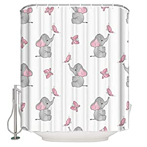 "Libaoge Shower Curtain Set - Elephant Curtains Pink Girl Magic Butterfly Art Print Bathroom Shower Decor Waterproof Polyester Fabrics Comstomized Design 66"" W x 72"" H"