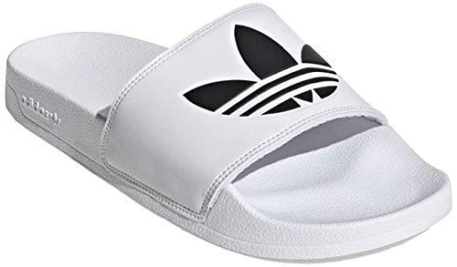 """Adidas - Ciabatte sportive """"Adilette"""" con trifoglio, Bianco (bianco nero), 44.5 EU"""