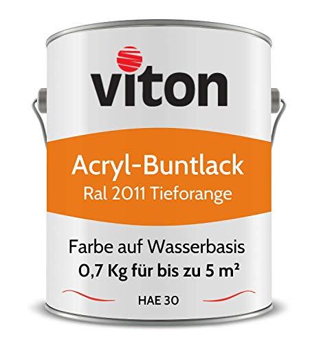 Buntlack von Viton - 0,7 Kg Orange - Seidenmatt - Wetterfest für Außen und Innen - 2in1 Grundierung & Lack - HAE 30 - Nachhaltige Farbe auf Wasserbasis für Holz, Metall & Stein - RAL 2011 Tieforange