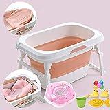 Bañera bebé for el niño, la Cuenca del Segura plegable antideslizante portátil ducha, natación del niño piscina FEOPW (Color : Pink)