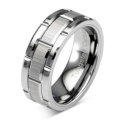 Tungsten Rings For Men Wedding Band Silver Brick Pattern Brushed Engagement Promise Size 6-16 (Custom Text Engraving, 10.5)