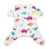 CuteBone Dinosaur Dog Pajamas Adorable Puppy Clothes Jumpsuit Pjs Pet Apparel Soft Fleece Cat Coat, Medium P01M