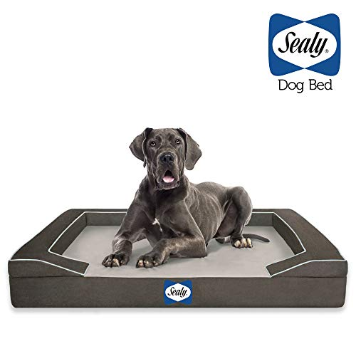 Sealy Lux Pet Dog Bed | Quad Layer Technology with Memory Foam, Orthopedic Foam, and Cooling Energy Gel. Machine Washable Cover. Modern Gray, X-Large