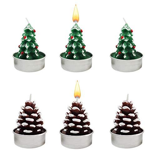 6 x Weihnachtsbaum- und Tannenzapfen Teelichter, Weihnachtsdekoration, zarte dekorative Kerzen, handgefertigte künstliche Weihnachtsbaum-Teelichter, zarte Kerzen für Party, Hochzeit, Spa, Geschenke