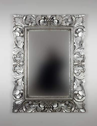 Rococo Espejo Decorativo de Madera Kamblung de 60x80cm en Plata (Envejecida)
