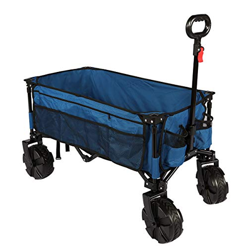 TIMBER RIDGE Outdoor Collapsible Wagon Utility Folding Cart Heavy Duty All Terrain Wheels for Shopping Camping Garden with Side Bag and Cup Holders