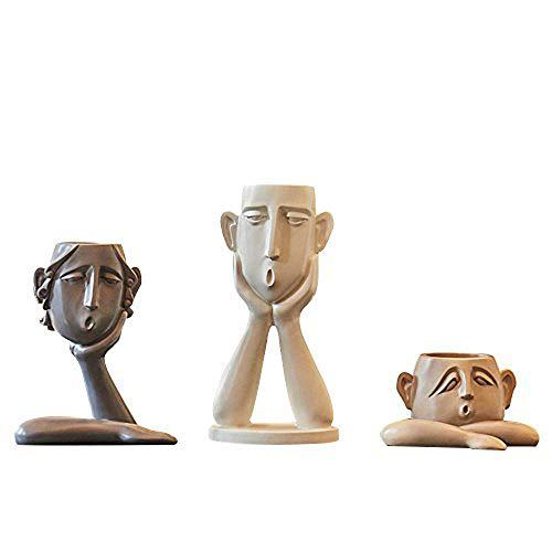 NBCDY 3 Teile/Satz Abstrakte Menschliches Gesicht Vase, Kreative Moderne Nordischen Stil, Dekoration Zubehör Fernsehschrank Veranda Weinschrank Wohnzimmer Home Room Crafts Eingerichtet