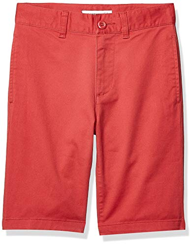 Amazon Essentials Kids Boys Woven Flat-Front Khaki Shorts, Red, 6 Slim