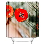 Daesar Badewannen Duschvorhang 180x200 cm Rot Blume Biene Anti Schimmel Duschvorhang Waschbar Polyester-Stoff
