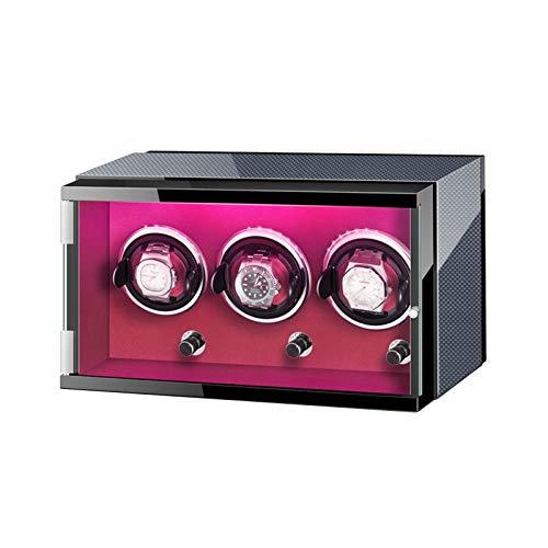 YXFYXF Reloj Caja de Winder para 3 Reloj automático con Luces de Colores Dual Fuente de alimentación Ajustable Reloj Almohadas Motor silencioso (Color : -)
