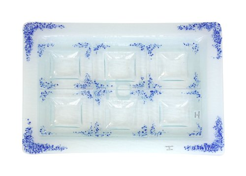 """Passover Pesach Seder Plate. Glass Seder Plate 7 Pc. Set, Blue Shredded Glass, """"Pesach"""" In Hebrew. Hand Made In The USA By RIVERSIDE STUDIO. Great Gift For: Temple Bat Mitzvah Bar Mitzvah Yom Kippur Rosh Hashanah Wedding and All Other Jewish Occasions."""