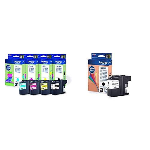 Brother LC-221 - Cartuchos de tinta para impresoras DCP J562DW, MFC J480DW, J680DW (4) + LC223BK - Cartucho de tinta negro (duración estimada: hasta 550 páginas según ISO/IEC 24711)