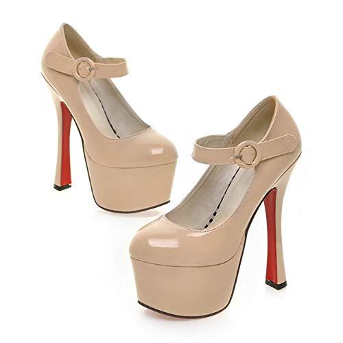 Dames hoge hak pompen, damesschoenen met blok hak, ronde neus hoge hakken Plateau,Flesh,35