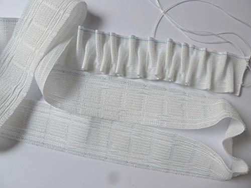 Gardinen Röttger Flausch Smokband 1:2 Fach weiß zum Ankletten 5cm breit