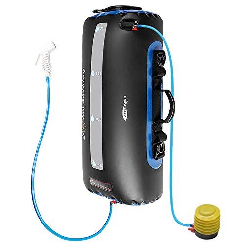 ducha portatil camper ducha solar para acampar bolsa de TPU de 20 l con manguera larga extraíble bomba presión boquilla pantalla de temperatura Bolsa de baño de escalada plegable ligera al aire libre