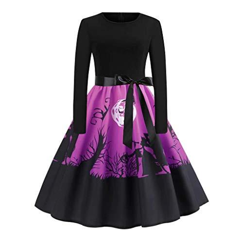 INLLADDY Damen Halloween Retro Lace Vintage Kleid Eine Linie Kürbis Schaukel Kleid Violett M
