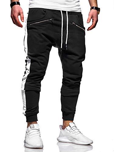 behype. Herren Lange Trainingshose Jogging-Hose Sport-Hose Zipper Side-Stripe 60-0361 Schwarz-Weiß L