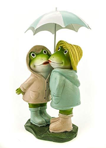 UDO Schmidt 51150 Wetter Frosch Pärchen mit Schirm 31cm Garten Tier Figur