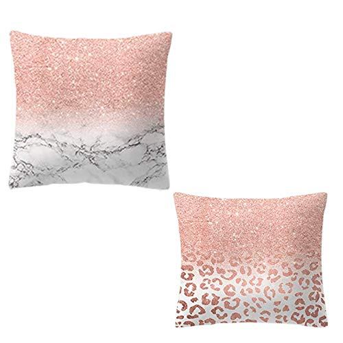 Fundas Cojines Decorativas Set 2 Uni 45x45 cm - Funda De Almohada para Decoración de Sala de Estar Sofás Funda De Microfibra para Decorativa Estilo Moderno - Color Rosa y Blanco