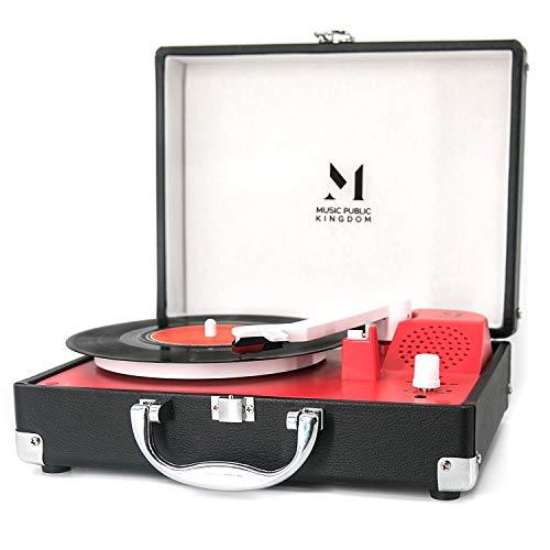 Giradischi, giradischi portatile mini valigia per dischi in vinile da 7 pollici, giradischi a cinghia a 2 velocità con altoparlante stereo incorporato