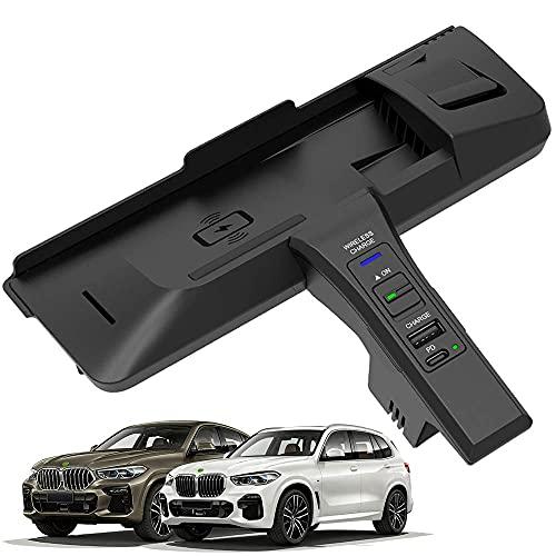 Panel de Accesorios de La Consola Central AutomóVil Cargador InaláMbrico, para BMW X5 X6 2014 2015 2016 2017 2018, Qi Smartcarga InduccióN RáPida Almohadilla para iPhone Samsung