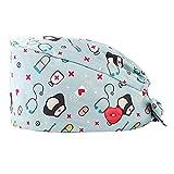 GEMVIE Reutilizable Gorros Quirofano Pelo Largo Robin Hat para Mujers y Hombres,Dibujos Animados, Flor,Peces, Corbata Ajustable