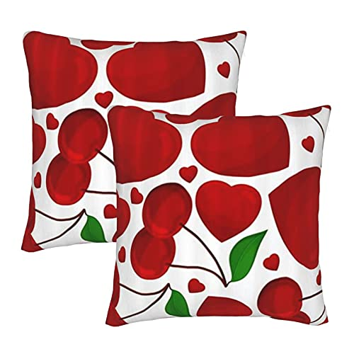 COVASA Funda de Almohada de poliéster Suave y cómoda,Cereza de corazón Rojo,Funda de Almohada Cuadrada de 2 Piezas para decoración de sofá y Ropa de Cama