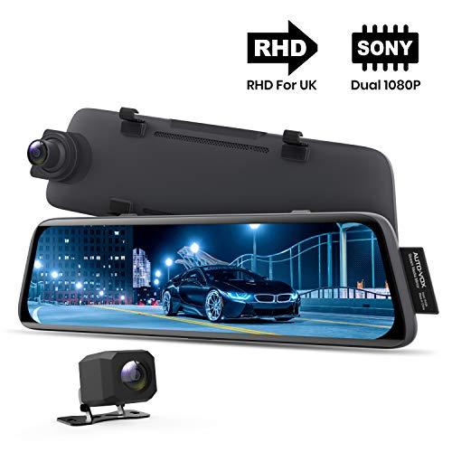 AUTO-VOX V5 Specchietto Retrovisore Dash cam Doppia Telecamera per Auto con 9,35 Pollci Touchscreen, Modalità Parcheggio, Visione Notturna, Tracciamento GPS