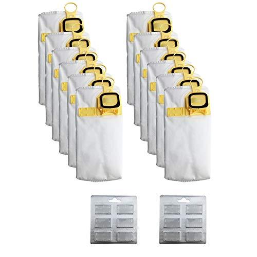 SDFIOSDOI Piezas de aspiradora Bolsa de Polvo de eficiencia de 12 Unids Reemplace FIT para VORWERK VK140 VK150 FP-140 Aspirador (Color : White Yellow)